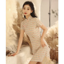cheongsam Summer 2021 S M L XL XXL A version lattice Short sleeve Short cheongsam Retro Low slit daily Oblique lapel lattice 18-25 years old Piping px21039 Pu Xu other Other 100% Pure e-commerce (online only)