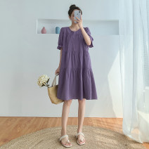 Dress Summer 2020 S M L XL XXL Mid length dress singleton  Short sleeve commute Crew neck Loose waist Solid color Single breasted A-line skirt other Others 18-24 years old Type A Yeorseve / youse Korean version 91% (inclusive) - 95% (inclusive) other cotton