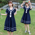 Dress Summer 2021 Sky Blue Navy 2. Sky blue 2. Navy S M L XL Mid length dress singleton  Short sleeve Sweet Admiral High waist Solid color Socket A-line skirt routine Under 17 Type A Gu Meng 369850123X52657 More than 95% other Other 100% solar system