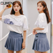 skirt Summer 2020 S M L White short sleeve T-shirt single blue skirt single white short sleeve T-shirt + blue skirt Short skirt Versatile High waist Pleated skirt Solid color Type A P8559 More than 95% Gu Meng other Ruffle fold lace strap zipper stitching patch Other 100%