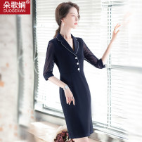 Dress Summer 2020 Black dark blue S M L XL 2XL 3XL 4XL Mid length dress singleton  three quarter sleeve commute tailored collar middle-waisted Solid color zipper One pace skirt 25-29 years old Type H Duo Gexian Ol style Button 31% (inclusive) - 50% (inclusive) Chiffon cotton