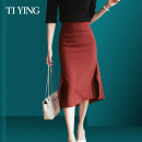 skirt Spring 2020 S M L XL 2XL Grape red Mid length dress commute High waist High waist skirt Solid color Type A 30-34 years old TY200856Q More than 95% other I love you polyester fiber Decorative stitching of zipper resin color fixing line Ol style Polyethylene terephthalate (polyester) 100%
