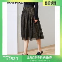 skirt Spring 2021 S,M,L Black gold Mid length dress Versatile Natural waist Pleated skirt Solid color Type A 30-34 years old 230582-81028 More than 95% Marvalas / Mandel Poetry polyester fiber
