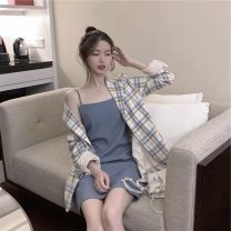glove other Blue suspender skirt + plaid coat female L XL S M Youth: 20-39 years old B11827 Pure phenanthrene Autumn 2020 no