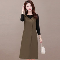 Dress Summer 2020 Coffee long sleeves, coffee short sleeves M,L,XL,2XL,3XL Fake two pieces Long sleeves commute Crew neck middle-waisted Solid color Socket A-line skirt routine straps 40-49 years old Aulan Tenor / orantino Korean version pocket HSYX2A093