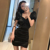 Dress Summer 2021 Black and white S M L Short skirt singleton  Short sleeve commute V-neck High waist Solid color A-line skirt routine Others 18-24 years old Type A Jane golly Retro JGL-YL6035 More than 95% other Other 100% Pure e-commerce (online only)