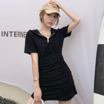 Dress Summer 2021 Grey black Average size Short skirt singleton  Short sleeve commute Hood High waist Solid color A-line skirt routine Others 18-24 years old Type A Jane golly Retro JGL-ZX563 More than 95% other Other 100% Pure e-commerce (online only)