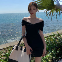 Dress Summer 2021 Pink Black Average size Miniskirt singleton  Short sleeve commute One word collar High waist Solid color Socket A-line skirt other 18-24 years old Jane golly Retro JGL-ZX331 More than 95% other other Other 100% Pure e-commerce (online only)
