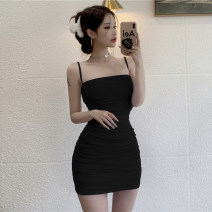Dress Summer 2021 Taro purple black S M L Short skirt singleton  Sleeveless commute High waist Solid color A-line skirt camisole 18-24 years old Type A Jane golly Retro JGL-LA8434 More than 95% other Other 100% Pure e-commerce (online only)