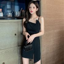 Dress Summer 2021 black S M L XL Short skirt singleton  Sleeveless commute other High waist Solid color A-line skirt camisole 18-24 years old Type A Jane golly Retro JGL-XY9575 More than 95% other Other 100% Pure e-commerce (online only)
