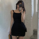 Dress Summer 2021 Grey black Average size Short skirt singleton  Sleeveless commute Crew neck High waist Solid color A-line skirt camisole 18-24 years old Type A Jane golly Korean version JGL-CAA55 More than 95% other Other 100% Pure e-commerce (online only)