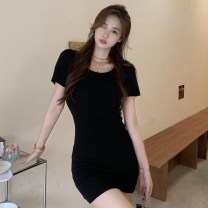 Dress Summer 2021 Black and white Average size Short skirt singleton  Short sleeve commute Crew neck High waist Solid color A-line skirt routine Others 18-24 years old Type A Jane golly Retro JGL-XH11284 More than 95% other Other 100% Pure e-commerce (online only)