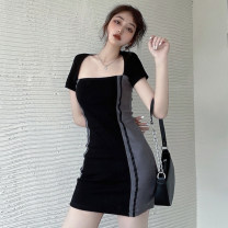 Dress Summer 2021 black Average size Short skirt singleton  Short sleeve commute square neck High waist Solid color A-line skirt routine Others 18-24 years old Type A Jane golly Retro JGL-HF8598 More than 95% other Other 100% Pure e-commerce (online only)