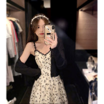 Dress Summer 2021 Suspender skirt cardigan + suspender skirt S M L XL Mid length dress Two piece set Sleeveless commute V-neck middle-waisted Broken flowers Socket A-line skirt routine camisole 18-24 years old Type A Ao Yiqian Korean version 9323# More than 95% other other Other 100%