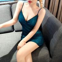 Dress Summer 2020 blue S,M,L,XL Short skirt singleton  Sleeveless V-neck High waist Solid color Socket One pace skirt camisole Cut out, open back, zipper
