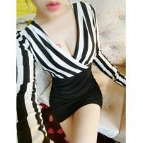 Dress Autumn 2020 Black and white bar, red and white bar S,M,L,XL Short skirt singleton  Long sleeves commute V-neck High waist stripe Socket One pace skirt routine Splicing