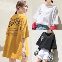 T-shirt Yellow black white M L XL XXL Spring 2021 Short sleeve Crew neck easy Medium length routine commute polyester fiber 51% (inclusive) - 70% (inclusive) 18-24 years old Korean version originality Cartoon letters Wen Zhuo Ting DX030903 printing Polyester 65% cotton 35%
