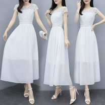 Dress Summer 2020 Black and white S M L XL 2XL Mid length dress singleton  Short sleeve commute Crew neck middle-waisted Solid color zipper A-line skirt routine Others 18-24 years old Type A Michelie Korean version Patchwork lace More than 95% Chiffon other Triacetate fiber (triacetate fiber) 100%