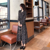 Dress Summer 2020 Black yellow S M L XL Mid length dress singleton  Long sleeves Sweet V-neck High waist Decor other routine Others 25-29 years old Michelie printing More than 95% other other Triacetate fiber (triacetate fiber) 100% Ruili