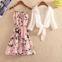 Dress Summer 2020 Shawl + floral skirt, shawl + black floral skirt, shawl + blue floral skirt, shawl + white floral skirt S, m, l, XL Middle-skirt Two piece set Short sleeve commute Polo collar High waist Decor Socket A-line skirt routine camisole 18-24 years old Type A Korean version Chiffon cotton