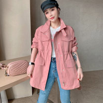 short coat Spring 2021 S M L Pink Long sleeves Medium length routine singleton  easy street routine other Single breasted Solid color 30-34 years old Gu fangya 81% (inclusive) - 90% (inclusive) BH201v80074p8 polyester fiber Polyester 90% other 10% Pure e-commerce (online only)