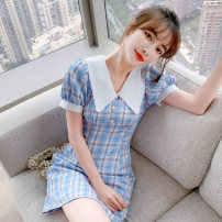 Dress Summer 2021 Blue lattice S M L XL Short skirt singleton  Short sleeve Sweet Doll Collar High waist lattice Socket A-line skirt routine 25-29 years old Type A PA yuan Button P9761 81% (inclusive) - 90% (inclusive) other New polyester 90% viscose 10% Pure e-commerce (online only)