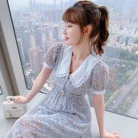 Dress Summer 2021 blue S M L XL Mid length dress singleton  Short sleeve Sweet Doll Collar High waist Broken flowers Socket A-line skirt routine 25-29 years old Type A PA yuan Patchwork printing 81% (inclusive) - 90% (inclusive) Chiffon other New polyester 90% viscose 10%