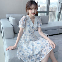 Women's large Summer 2020 Blue flower S M L XL Dress singleton  Sweet Self cultivation moderate Short sleeve Broken flowers V-neck Medium length polyester fiber routine PY-9100 PA yuan 18-24 years old Medium length New polyester 90% viscose 10% Princess Dress