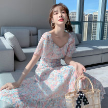 Dress Summer 2021 Pink S M L XL Mid length dress singleton  Short sleeve Sweet square neck High waist Broken flowers Socket A-line skirt Lotus leaf sleeve 25-29 years old Type A PA yuan Patchwork printing p7508 81% (inclusive) - 90% (inclusive) Chiffon other New polyester 90% viscose 10%