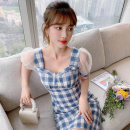 Dress Summer 2021 blue S M L XL Short skirt singleton  Short sleeve Sweet square neck High waist lattice Socket A-line skirt puff sleeve 25-29 years old Type A PA yuan Splicing P9778 81% (inclusive) - 90% (inclusive) other New polyester 90% viscose 10% Pure e-commerce (online only)