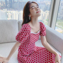 Dress Summer 2021 gules S M L XL Mid length dress singleton  Short sleeve Sweet square neck High waist Dot Socket A-line skirt puff sleeve 25-29 years old Type A PA yuan Patchwork printing 81% (inclusive) - 90% (inclusive) Chiffon other New polyester 90% viscose 10% Pure e-commerce (online only)