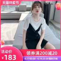 Women's large Summer 2020 Black and white S M L XL Dress Two piece set Sweet Self cultivation moderate Socket Short sleeve Solid color Crew neck Medium length routine PA yuan 18-24 years old Medium length New polyester 90% viscose 10% Princess Dress Countryside