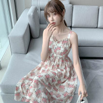 Dress Summer 2021 Pink S M L XL longuette singleton  Sleeveless Sweet One word collar High waist Broken flowers Socket A-line skirt other camisole 25-29 years old Type A PA yuan Patchwork printing YJE5010 81% (inclusive) - 90% (inclusive) Chiffon other New polyester 90% viscose 10%