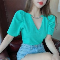 T-shirt White yellow blue pink Average size Summer 2021 Short sleeve V-neck Self cultivation Regular puff sleeve commute other 96% and above 18-24 years old Korean version Solid color stitching Yeena QYN2021GF339 Asymmetric pleat stitching Other 100%