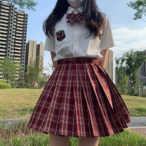 skirt Summer 2020 S,M,L,XL Amaranth plaid skirt 43cm, amaranth plaid skirt 48CM, tie, no tie, small long handle, bow tie, double-layer bow tie, strap Short skirt Sweet High waist Pleated skirt lattice Type A 18-24 years old D0240 (Japanese) 71% (inclusive) - 80% (inclusive) brocade cotton fold