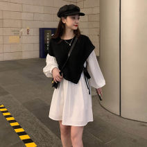 Women's large Autumn 2020 Black and white S M 2XL L XL Fake two pieces commute Conjoined Long sleeves Solid color Korean version Crew neck Medium length other puff sleeve Ningzhu (clothing) 18-24 years old 96% and above Middle-skirt Other 100% Princess Dress