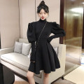 Dress Autumn 2020 black S M L Short skirt singleton  Long sleeves commute High collar High waist Solid color zipper A-line skirt puff sleeve Others 18-24 years old Type A Korean version More than 95% other Other 100% Pure e-commerce (online only)