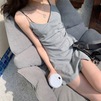 Dress Summer 2021 Light grey black S M L XL Short skirt singleton  Sleeveless commute V-neck High waist Solid color Socket A-line skirt routine camisole 25-29 years old Type A AMAQ Korean version A000296Q-DY More than 95% other Other 100% Pure e-commerce (online only)