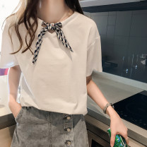 Lace / Chiffon Summer 2020 White blue M L XL 2XL 3XL 4XL Short sleeve commute Socket singleton  easy Regular Crew neck Solid color routine Bow cut Korean version Other 100% Pure e-commerce (online only)