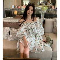 Dress Summer 2021 Floral Dress S M L Middle-skirt singleton  Long sleeves commute One word collar High waist Decor Socket A-line skirt routine camisole 18-24 years old Type A Shenmu (clothing) printing More than 95% other polyester fiber Polyester 100% Pure e-commerce (online only)