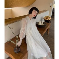 Dress Spring 2021 White gauze skirt + sling S M L longuette singleton  Long sleeves commute stand collar Loose waist Solid color Single breasted A-line skirt routine 18-24 years old Type A Shenmu (clothing) Button More than 95% Chiffon polyester fiber Polyester 100%