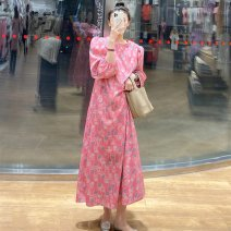 Dress Spring 2021 Floral Dress S M L longuette singleton  Long sleeves commute Crew neck High waist Decor Socket A-line skirt routine 18-24 years old Type A Shenmu (clothing) printing More than 95% other polyester fiber Polyester 100% Pure e-commerce (online only)