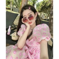 Dress Summer 2021 Pink dress S M L Middle-skirt singleton  Short sleeve commute other High waist Dot Socket A-line skirt routine 18-24 years old Type A Shenmu (clothing) printing More than 95% Chiffon polyester fiber Polyester 100% Pure e-commerce (online only)