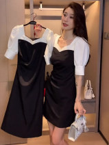 Dress Summer 2021 Long dress short dress S M L XL Mid length dress Fake two pieces Short sleeve commute square neck High waist Socket A-line skirt puff sleeve Others 18-24 years old Type A Jane shangdai Korean version Stitching zipper 2021Q007 More than 95% other Other 100%