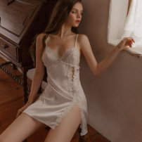 Nightdress Quemi (clothing) White pink 160(M) 165(L) sexy Short skirt youth V-neck Embroidery Winter 2020 Polyethylene terephthalate (polyester) 95% other 5%