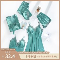 Pajamas / housewear set female Polyester (polyester) three quarter sleeve sexy Leisure home spring Thin money Solid color Ninth pants double-breasted youth rubber string 81% (inclusive) - 95% (inclusive) Velvet 240g Polyethylene terephthalate (PET) 95% polyurethane elastic fiber (spandex) 5%