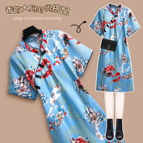 Dress Spring 2021 61408 blue 61408 green 2XL 3XL 4XL 5XL 6XL Mid length dress singleton  Short sleeve commute stand collar 25-29 years old Xiangyun (clothing) Retro X-61408 More than 95% polyester fiber Polyethylene terephthalate (PET) 95% polyurethane elastic fiber (spandex) 5%
