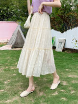 skirt Summer 2021 S M L XL Apricot white black Mid length dress commute High waist A-line skirt Solid color Type A More than 95% other Jiao weiqi other Embroidery Korean version Other 100% Pure e-commerce (online only)