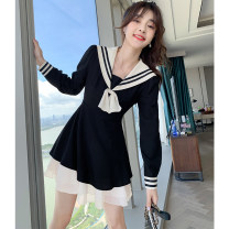 Women's large Autumn 2020 [long sleeve] black dress [short sleeve] black dress S M L XL Dress singleton  Sweet Self cultivation moderate Socket Long sleeves Solid color Admiral have cash less than that is registered in the accounts polyester fiber Collage routine C1098 Tact 18-24 years old Other 100%
