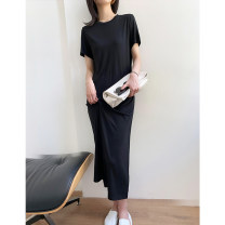 Dress Summer 2021 S M L longuette singleton  Short sleeve Crew neck Loose waist Solid color Socket other 18-24 years old MY-BLUN 30% and below polyester fiber Pure e-commerce (online only)